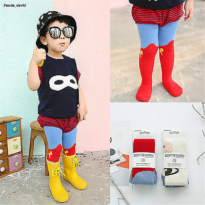 Fashion Red Cartoon Infants Pantyhose Girls Superman Cotton Baby Tights Cool