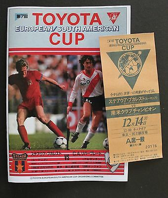 1986 Toyota Cup Replica Programme & Ticket River Plate V Bucharest