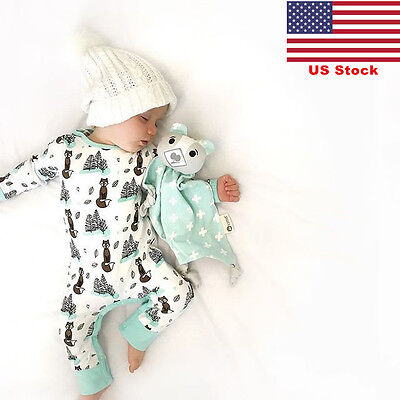 US Baby Infant Fox Printing Toddler Newborn Clothes Jumpsuit Bodysuit Outfits