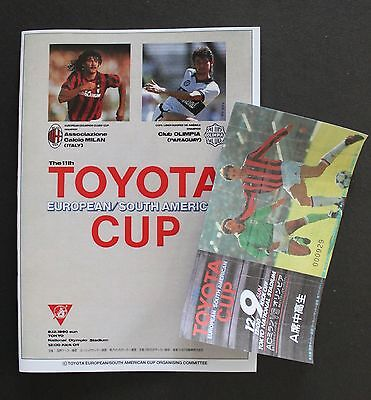 1990 Toyota Cup Replica Programme & Ticket Ac Milan V Olimpia