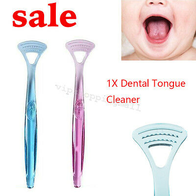 Hygienic Dental Tongue Cleaner Oral Care Coated Tongue Scraper Tool Dual Action