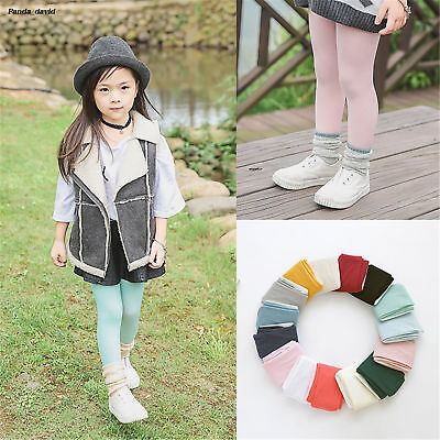 Lovely Girls White Soft Cotton Pantyhose Boys Pink Plain Baby Tights 15 Colors