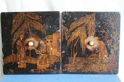 Antique black Lacquer Chinoiserie Decorated Small Spare Doors - 11.2 x 10cm