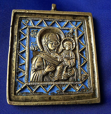 19th century Russian Antique Orthodox Bronze Enamel Icon Mother Of God