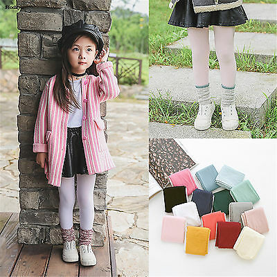 Kawaii Fall Pure Colour Baby Tights Girls Cotton Infants Plain Toddler Pantyhose