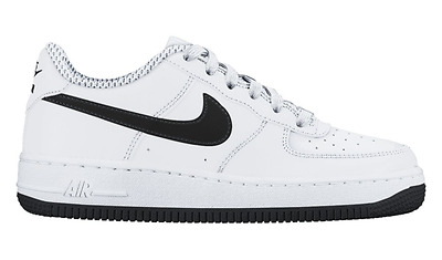 Nike Air Force 1 One GS Low White Black Leather 596728-182 New $75 Youth 7y