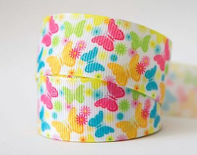 1M X 25mm Grosgrain Ribbon Craft DIY Decorations Hair Bows - Colourful Butterfly