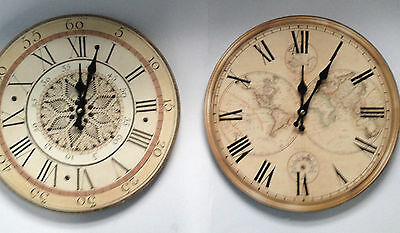 Large 34 cm  Round Antique Style Clock Map or Roman Nice Gift .
