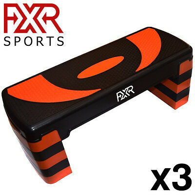 3x ADJUSTABLE FXR SPORTS 5 LEVEL AEROBIC STEPPER STEP STEPS FITNESS YOGA GYM