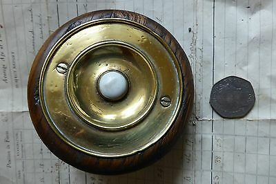 Antique Brass & Ceramic Electric Door Bell Push + Wood Pattress (victorian)