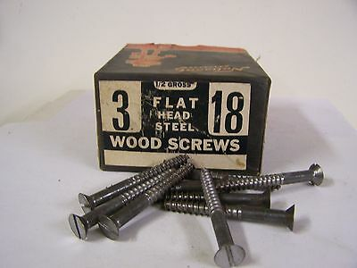 "#18 x 3"" Flat Head Wood Screws Slotted Plain Steel Made in USA Qty 20"