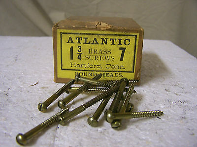 "#7 x 1 3/4"" Brass Wood Screws Solid Brass Round Head Slotted Made in USA Qty.140"