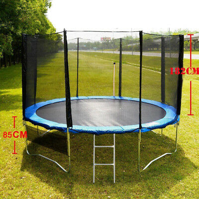12ft 15ft Round Trampoline  Spring Pad Cover Ladder With Safety Net Enclosure