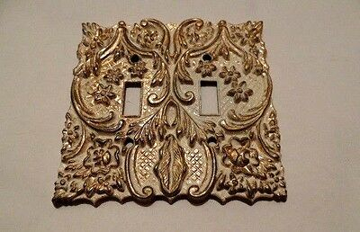 Brass Vintage Dual Switch Wall Plate 2 Tone 1960's