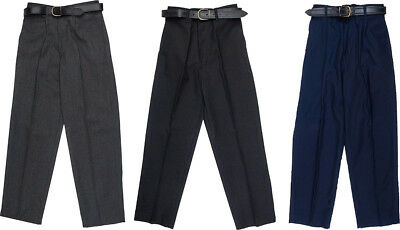 Boys Children School Trousers Stocky Sturdy Wider Fit Half Elasticated Pant UK