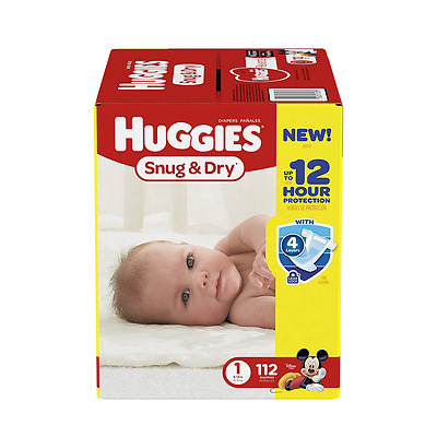 Huggies Snug and Dry Diapers, Size 1, 112 Count, New, Free Shipping