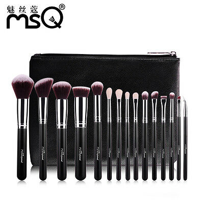 MSQ Professional 15Pcs Makeup Brush Smooth Soft Cosmetics Beauty Tool+PU Leather