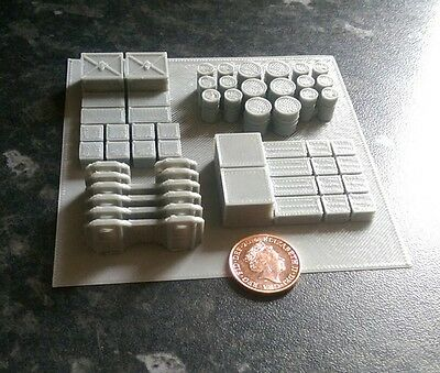 *SCENERY* 10mm scale barricades, crates & barrels, Dropzone Commander