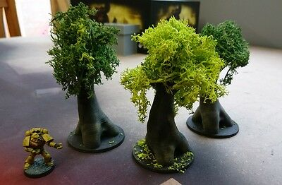 *SCENERY* 3 28mm trees, 40K, Necromunda, Malifaux, Bolt Action, Warhammer, AoS
