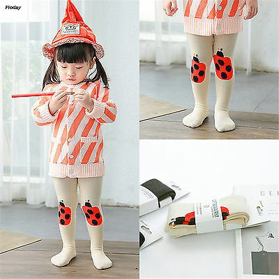 White Kawaii Ladybug Embroidery Cartoon Pantyhose Girls Babies Cotton Tights