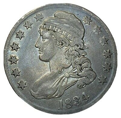 1834 50C Large Date Capped Bust Half Dollar VF