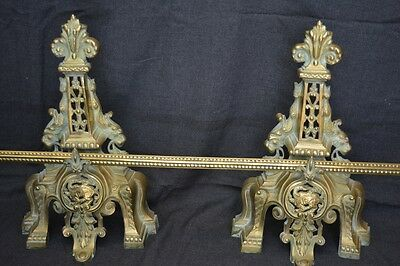 Antique French 1950's Pair of Andirons/Fireplace Decorations