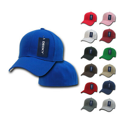 6-Pack DECKY Classic Plain Fitted Curved Bill Baseball Hats Caps Wholesale Lot