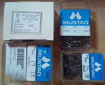 Mustad 3906, Sproat Hooks, Various Sizes and Quantities, From Norway
