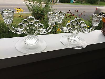 Vintage Clear Glass Double Arm Candle Holders Set of 2
