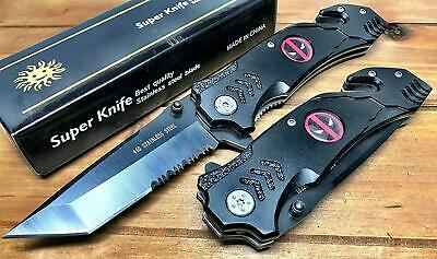 DeadPool Tactical Spring Assisted Pocket Knife With Cutter Custom Sword Gray