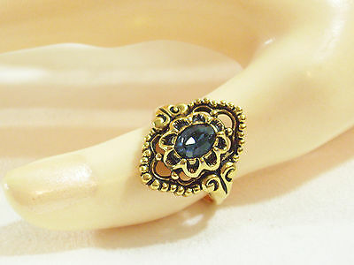 Sapphire BLUE Rhinestone Antiqued Gold Plate FILIGREE Ring Sz 7 Vintage STUNNING