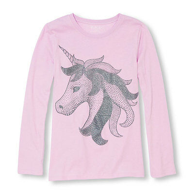 Girls Horse/Unicorn Long Sleeve Shirt with Glitter New with Tags Size 7/8 Kids