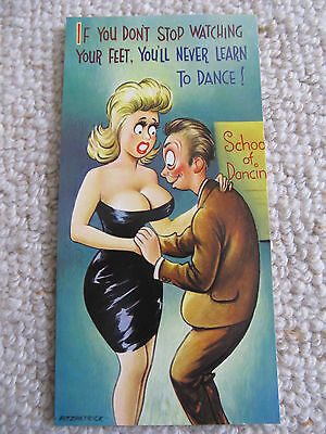 Vintage 1970's Bamforth SLIM COMIC Postcard (Scarce as new), Looking at feet C36