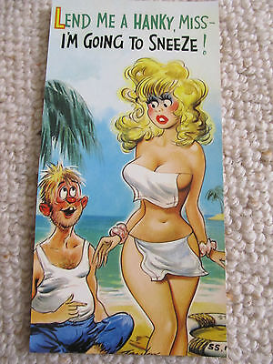 Vintage 1970's Bamforth SLIM COMIC Postcard (Scarce as new), Lend me Hanky C14