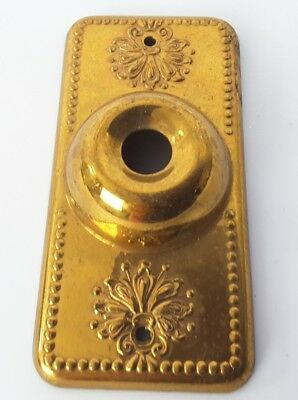 Antique Vtg Victorian Ornate Push Button Doorbell Door Bell Cover Plate goldtone