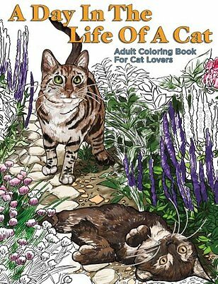 FREE 2 DAY SHIPPING: A Day In The Life Of A Cat: Adult Coloring Book (Paperback)