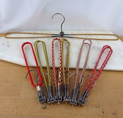 Lot of 7 Vintage Metal Folding Coat Hangers, Travel Clothing Hangers