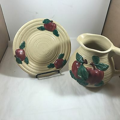 Pottery Apple Vase With Matching Platter- NICE