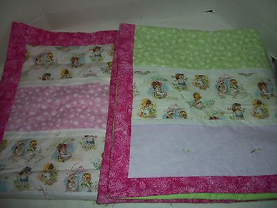 """Set of 2 Twin Girl's Vintage Print Fabric Handmade Baby Blanket Quilts~41"""" x 35"""""""