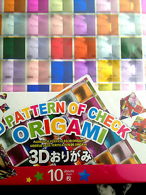 10 Sheets 3D Patterns Of Check Japanese Origami Chiyogami Paper 150 X150mm