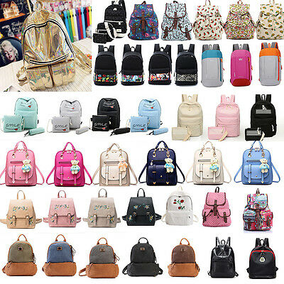 Womens Girls Canvas Backpack Laptop Rucksacks Shoulder School Bag Satchel Lot