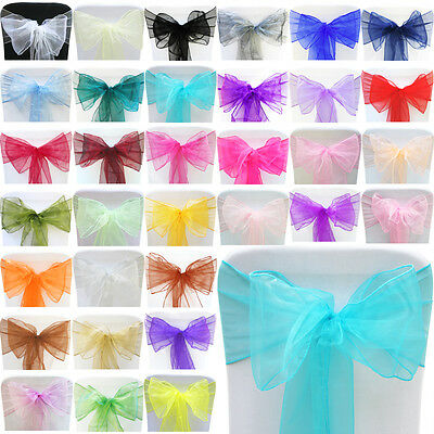 10 25 50 100 Organza Sashes Chair Cover Bow Sash WIDER FULLER BOWS Wedding Party