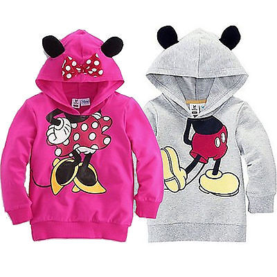 Kids Girls Toddler Minnie Mouse Cartoon Hoodie Sweatshirt Casual Hooded Coat Top