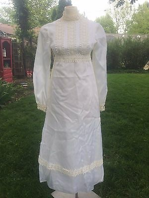VTG White Wedding Dress Sz S/M Long Sleeve Daisy Retro 60s Trim Murray Hamburger