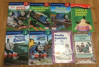 STEP INTO READING Lot of 8 Level 1 & 2 Early Readers Books Thomas Train