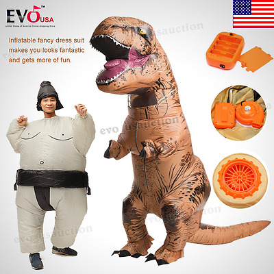Adults T-REX Inflatable Dinosaur Costume Funny Jurassic Halloween Blowup Outfit