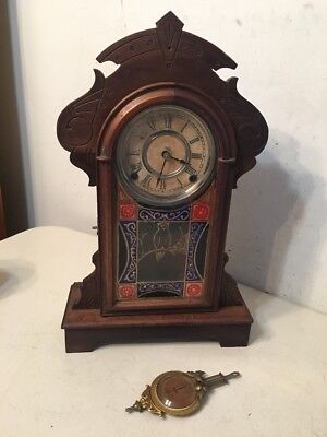 Beautiful Antique Eastlake Kroeber Parlor Clock W/ Fancy Glass Pendulum
