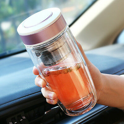 BPA-Free 380ml Double Wall Glass Water Bottle Tumbler with Tea Infuser Strainer