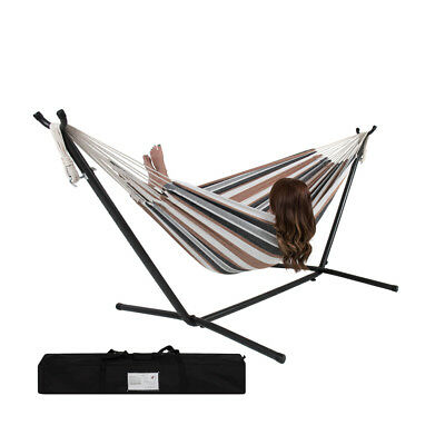 Double Hammock w/ Space Saving Steel Stand & Portable Carry Bag Outdoor Patio
