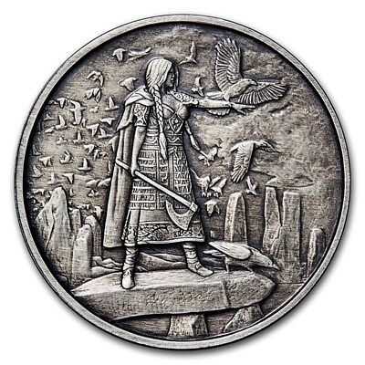 Celtic Lore Series - Morrigan 5 oz .999 Silver Antiqued Finish Round USA Coin